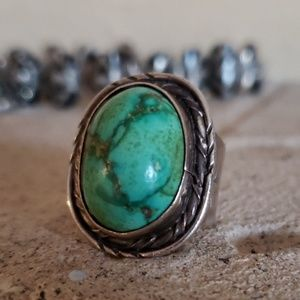 Turquoise Sterling Silver Vintage Ring Sz 10